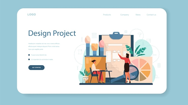Professional interior designer web landing page. decorator planning the design of a room, choosing wall color and furniture style. house renovation. isolated flat vector illustration