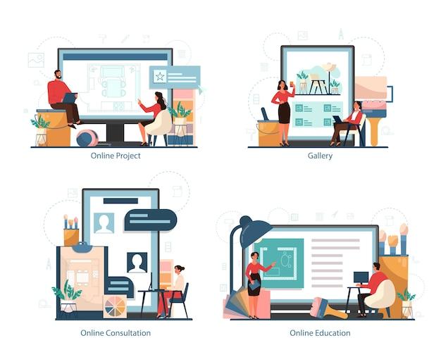 Профессиональная платформа обслуживания интерьера er на наборе концепции различных устройств. декоратор спланировал комнату, выбрав цвет стен и стиль мебели. ремонт дома.
