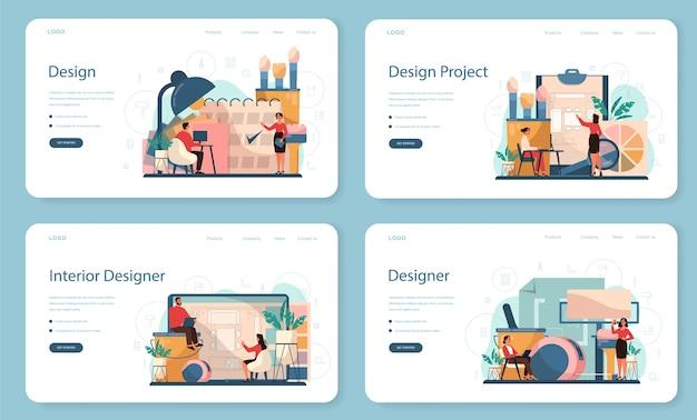 Профессиональный интерьерный веб-баннер или набор целевой страницы. декоратор планирует комнату, выбирая цвет стен и стиль мебели. ремонт дома.