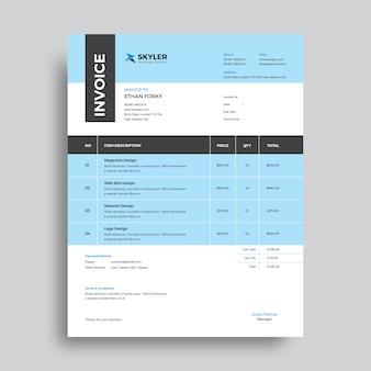 Professional invoice template Premium Vector