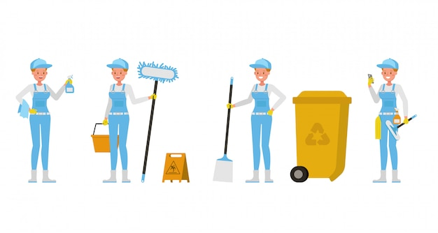 Professional janitor woman   character design. presentation in various action.