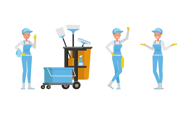 Professional janitor woman set character  . presentation in various action.