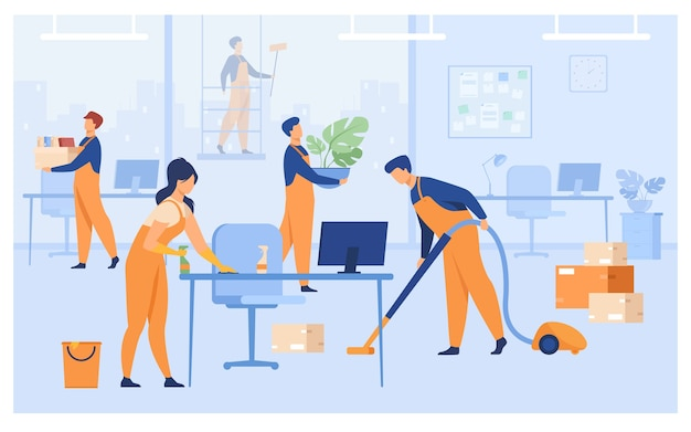 Professional janitors working in office isolated flat vector illustration. cartoon cleaning team washing, holding stuff, removing dust, using vacuum cleaner.
