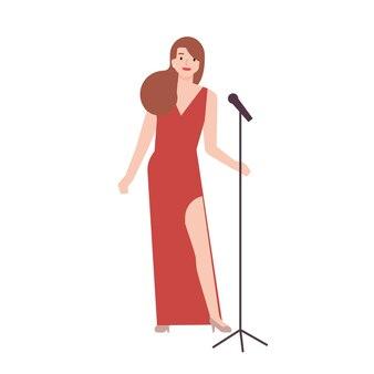 우아한 빨간색 이브닝 드레스를 입고 마이크 스탠드를 들고 전문 재즈 가수, 보컬리스트 또는 가수