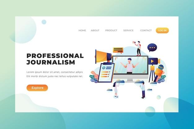 Профессиональная журналистика - векторная целевая страница