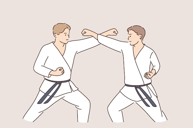 Professional karate sport fighters concept