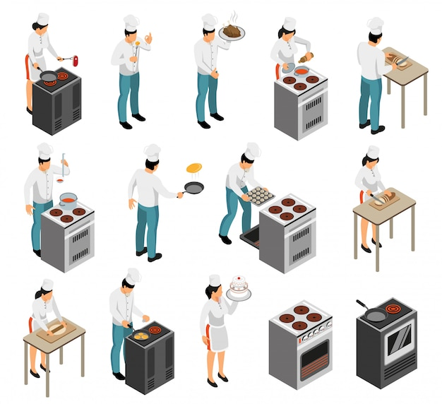 Professional kitchen range equipment cook chef food preparation waiter service isometric character set isolated vector illustration