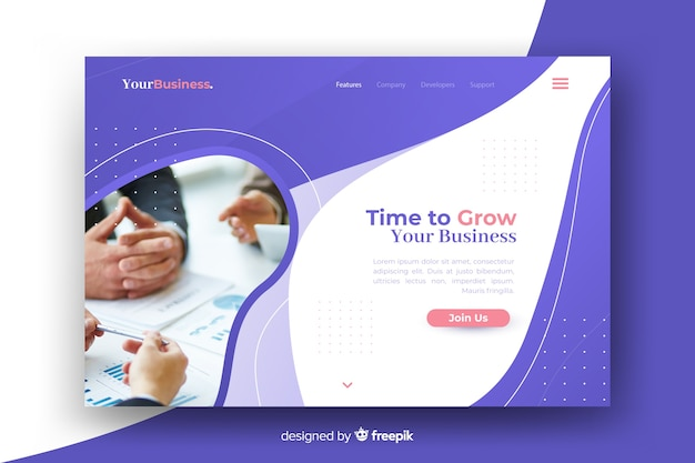 Professional landing page with image