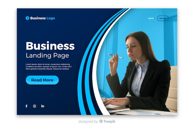 Professional landing page with photo template