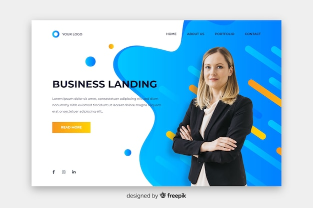 Professional landing page with photo