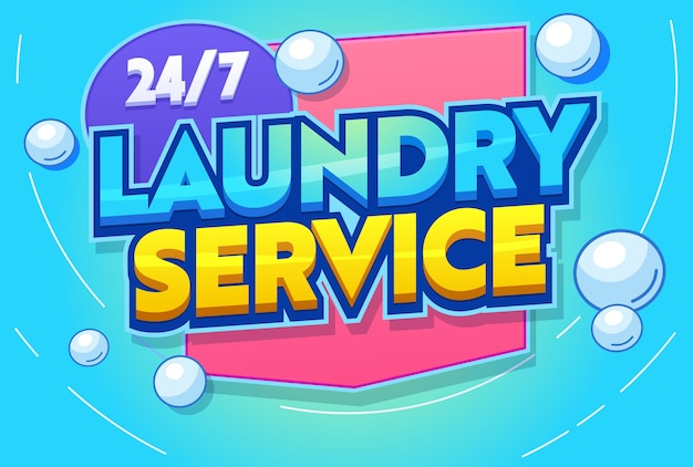 Professional laundry service typography banner. modern washing machine agitation, rinsing, ironing and folding clothing. hygiene clean delicate fabric.