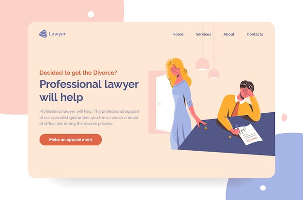 Professional lawyer help for unhappy couples in divorce process. professional attorney landing page first screen template. sad man signing the divorce documents and woman taking her wedding ring off.