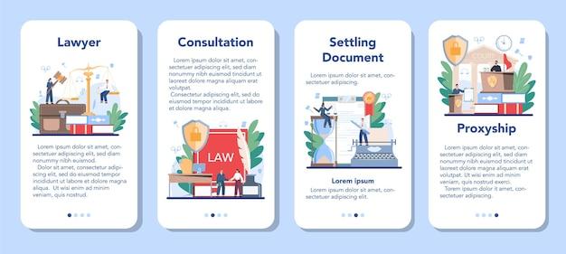 전문 변호사 모바일 응용 프로그램 배너 세트. 처벌 및 판단 아이디어. 문서 생성 정착. 법률 고문 또는 컨설턴트, 고객 변호를 옹호합니다.