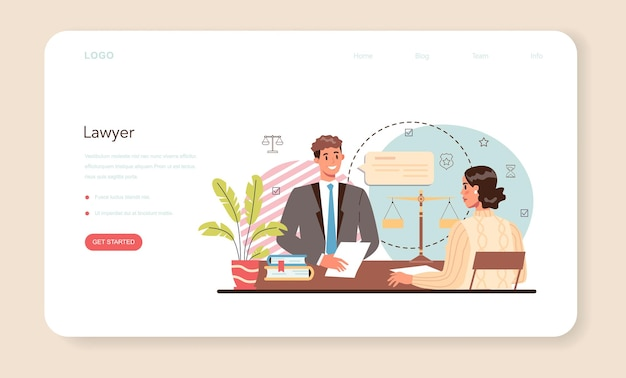 Professional lawyer web banner or landing page. punishment and judgement idea. law advisor or consultant, advocate defending a customer at the trial. vector flat illustration