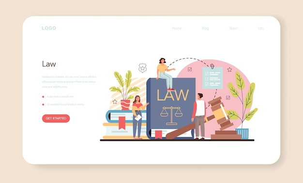 Professional lawyer web banner or landing page. vector flat illustration