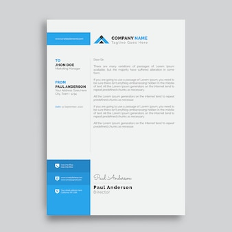 Professional letterhead design template with red shapes
