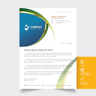 Professional letterhead mockup template with green wavy