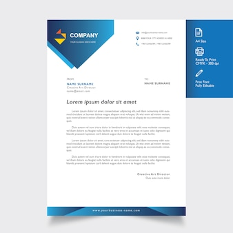 Professional letterhead mockup with blue geometric shapes
