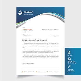 Professional letterhead mockup with blue shape