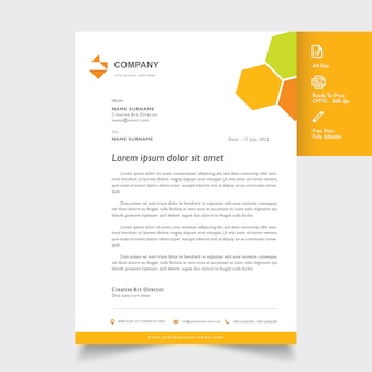 Professional letterhead mockup with geometric orange color