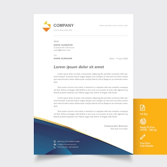 Professional letterhead mockup with gold and blue shapes