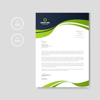 Professional letterhead with green wave