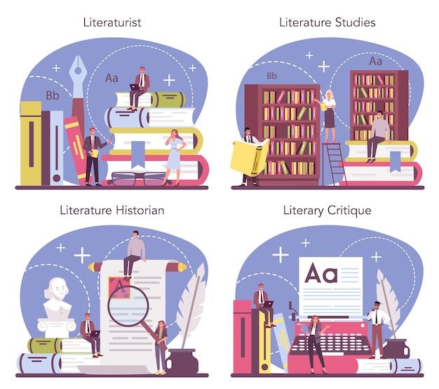 プロの文学者のコンセプトセット。文学、文学史、ジャンル、文芸批評の研究と研究を行う科学者。フラットベクトル図