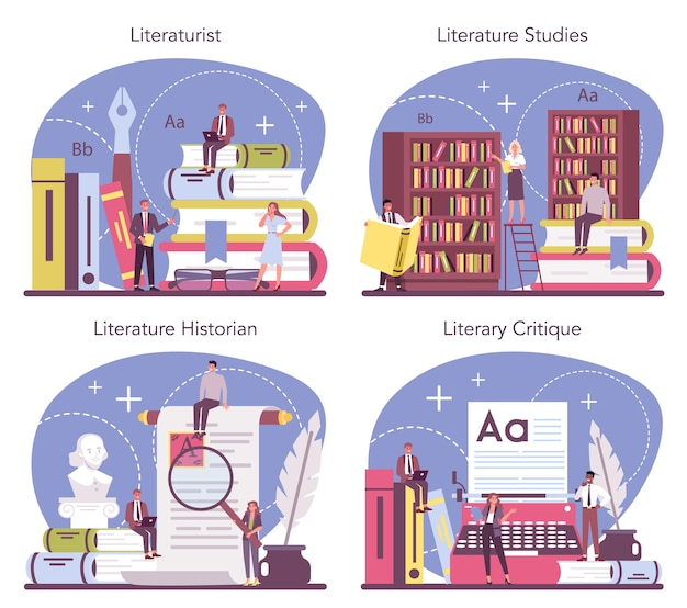 Professional literaturist concept set. scientist studying and research works of literature, history of literature, genres, and literary criticism. flat vector illustration