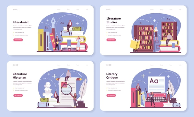 Professional literaturist web banner or landing page set.