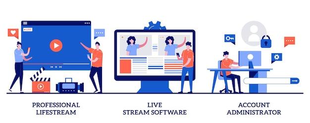 プロのライブストリーム、ライブストリームソフトウェア、小さな人々とのアカウント管理者の概念。放送サービスセット。オンラインイベントストリームマネージャー。