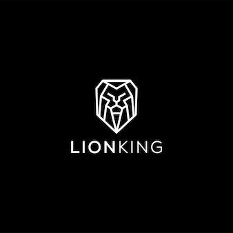 Профессиональный роскошный логотип льва в черно-белом