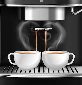 2杯のコーヒーを準備するプロの機械