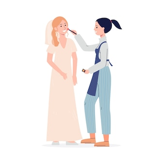 Профессиональный визажист женский мультипликационный персонаж, делающий свадебное лицо maquillage для девушки невесты, квартира, изолированные на белом фоне.