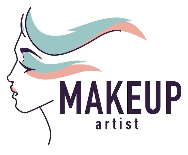 プロのメイクアップアーティスト、美容師のスタジオやサロンの孤立したエンブレムやロゴタイプ。ワークショップやスタイリストのコースのバナー。エレガントな女性のキャラクターと碑文。フラットスタイルのベクトル