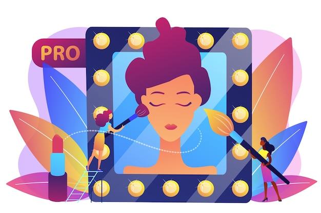 鏡の中の女性の顔にブラシでメイクアップを適用するプロのメイクアップアーティスト。プロのメイクアップ、プロの芸術性、メイクアップアーティストの作品コンセプト。