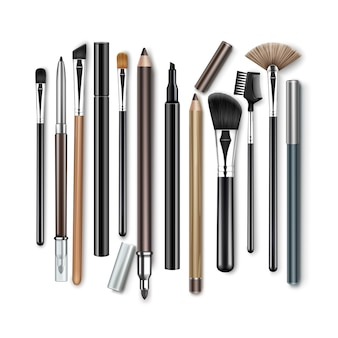 Professional makeup concealer powder blush eye shadow brow brushes