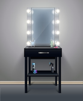 Professional makeup mirror with turned on lights in empty room realistic composition vector illustration