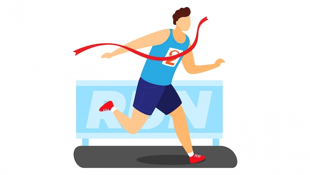Professional male character running, man first place fleeing championship isolated on white, cartoon illustration.