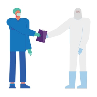 Professional male doctors wearing medical masks illustration