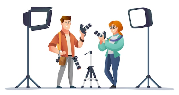 Professional male and female photographer with photography equipment illustration