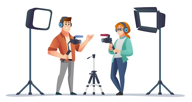 Professional male and female videographer holding camera stabilizer in studio illustration