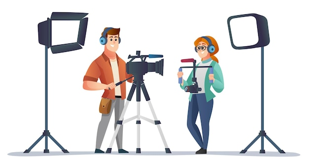 Professional male and female videographer with videography equipment concept illustration