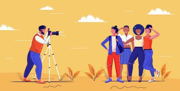 Professional male photographer using digital dslr camera on tripod shooting mix race girls posing together for photo fashion shoot concept full length  sketch