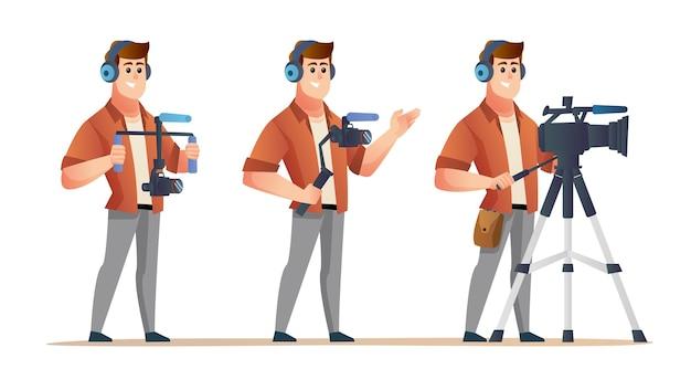 Набор персонажей профессионального видеооператора в различных позах