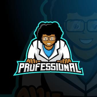 Профессиональный человек талисман дизайн логотипа вектор