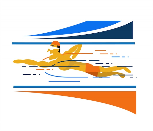 Professional man swimmer inside swimming pool. flat character design