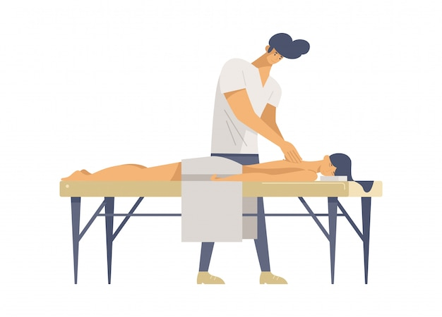 Professional massage therapy flat vector illustrations