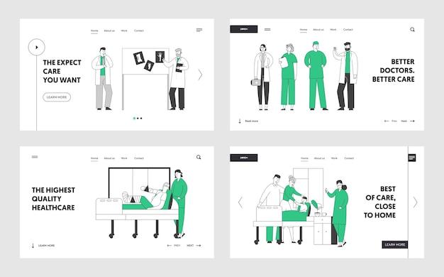 Профессиональный медицинский персонал за работой в наборе целевой страницы веб-сайта больницы.
