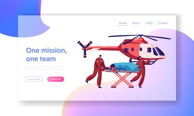 専門医療レスキューランディングページ。ヘルスケアのウェブサイトまたはウェブページのための病院へのヘリコプターによる医療緊急輸送傷害キャラクター。フラット漫画ベクトルイラスト
