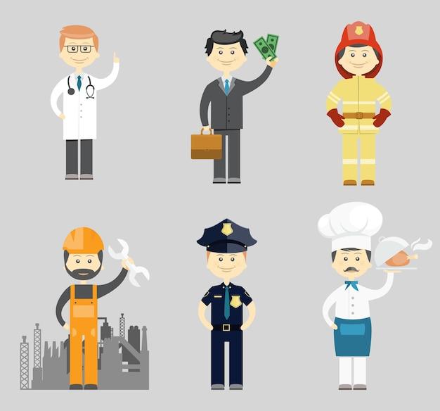 Набор векторных иконок профессиональных мужчин с доктором, успешным бизнесменом, пожарным, промышленным строителем или механиком, полицейским и шеф-поваром в токе